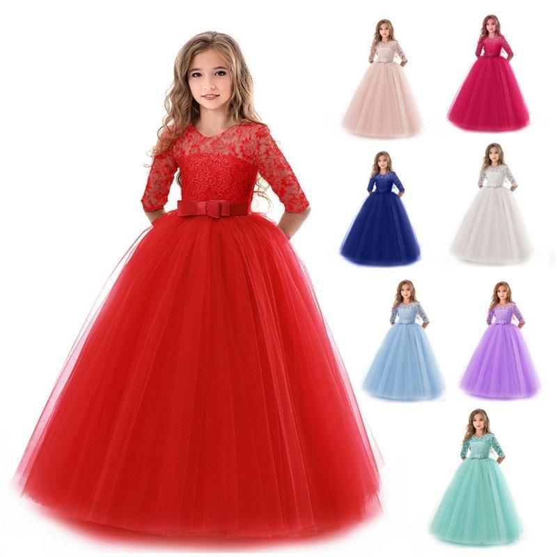 Filles Mariage Enfants Robes pour Girl Party Robe Dentelle Princesse Summer Adolescentes Enfants Princesse demoiselle d'honneur Robe 8 10 12 14 ans 886 V2
