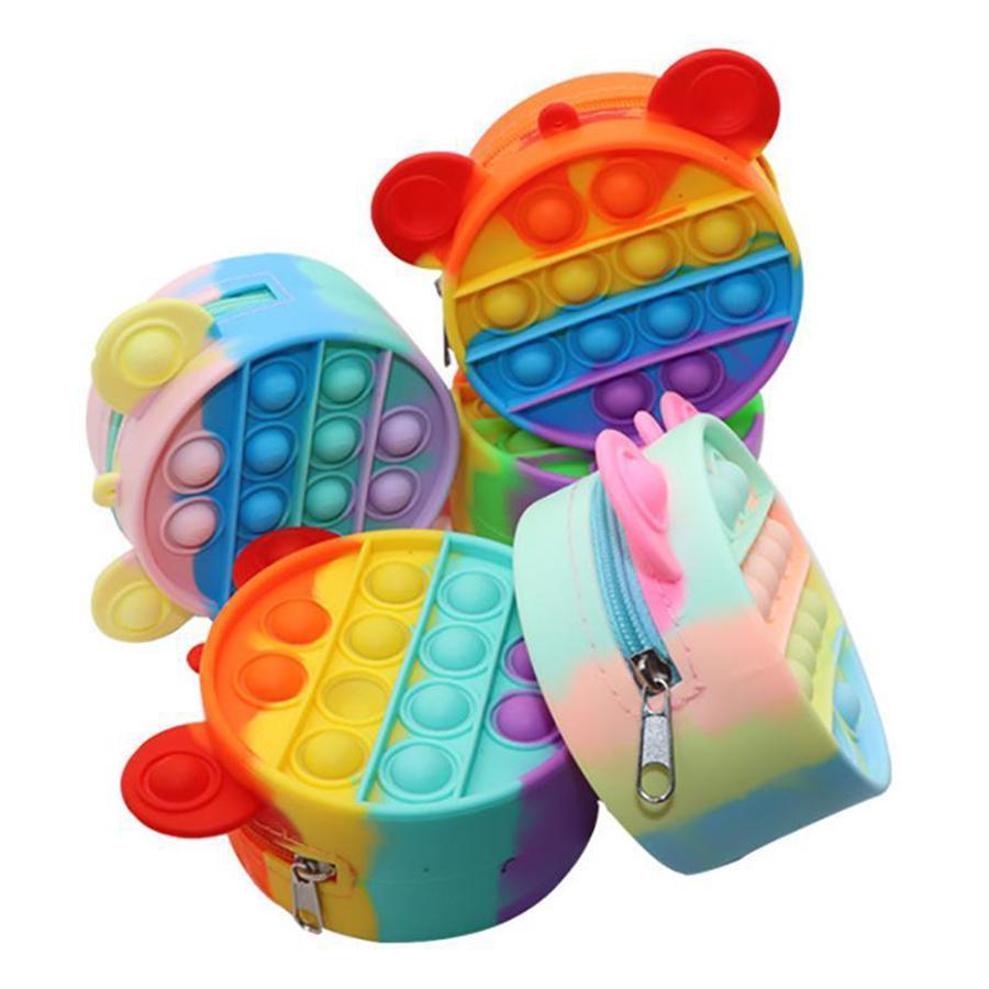 푸시 IT FIDGET 장난감 동전 지갑 그물 붉은 손가락 거품 감각 어린이 작은 가방 코인 지퍼 가방 감압 장난감