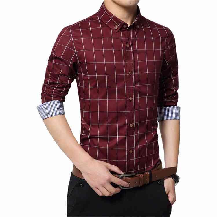남성용 셔츠 셔츠 정식 캐주얼 플러스 사이즈 남성용 격자 무늬 티셔츠 100 % 코튼 남성 긴 소매 슬림 피트 블라우스 비즈니스