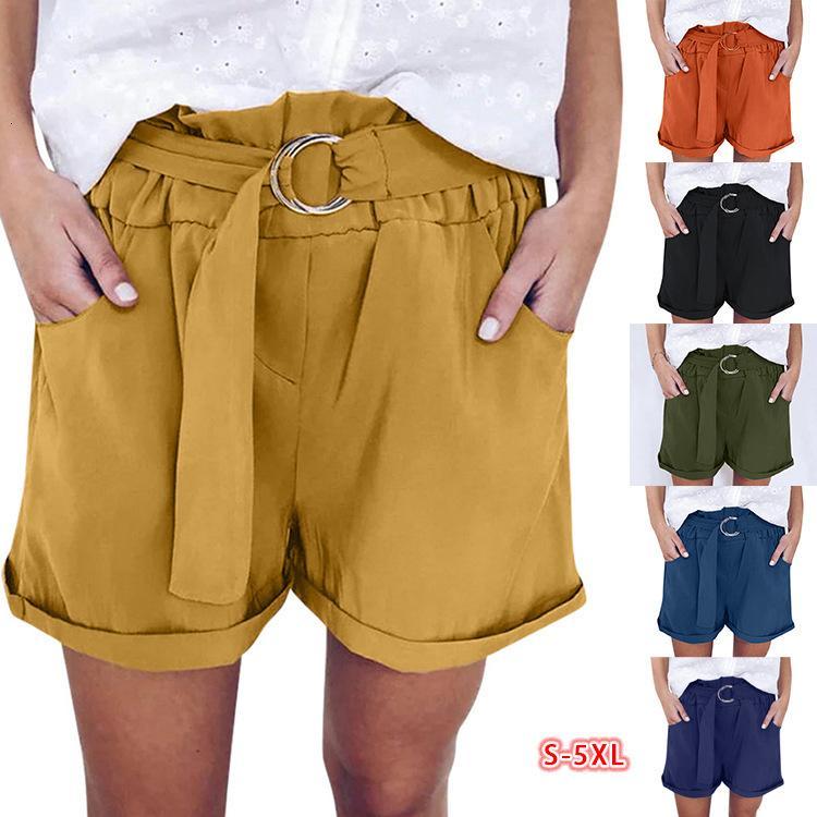 Магазин 2021 летний новый ремень эластичный досуг высокая талия Широкие брюки ноги женские шорты
