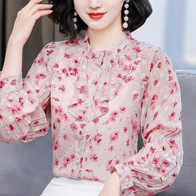Long Sleeve Ruffles Print Chiffon Blouse Shirt Tops Blusa Women Blusas Mujer De Moda 2021 Womens And Blouses D836 Women's & Shirts