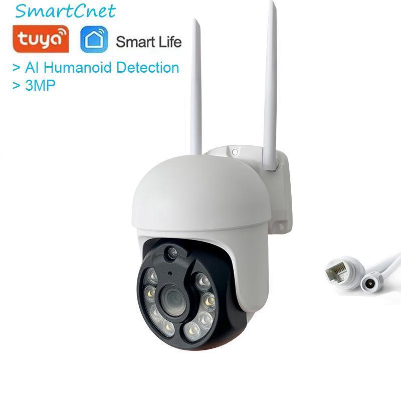 TUYA SMART LIFE PTZ AI HD 3MP 1296P Cámara IP al aire libre impermeable P2P WiFi Seguridad CCTV Cámaras de vigilancia