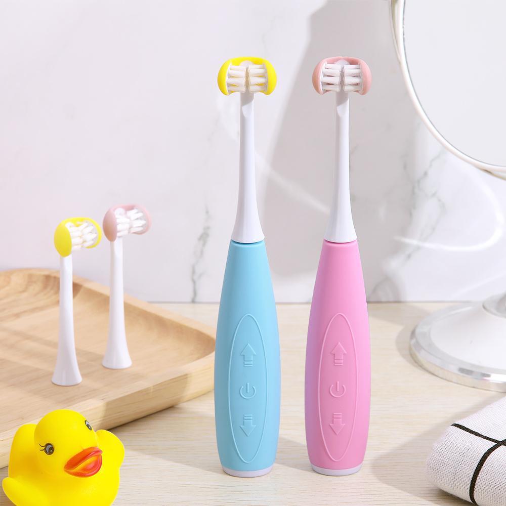 3D الجانب سونيك الكهربائية فرشاة الأسنان الأطفال usb استبدال قابلة للشحن الذكية الرؤوس فرشاة بالموجات فوق الصوتية 5 وضع ماء الموقت Q0508