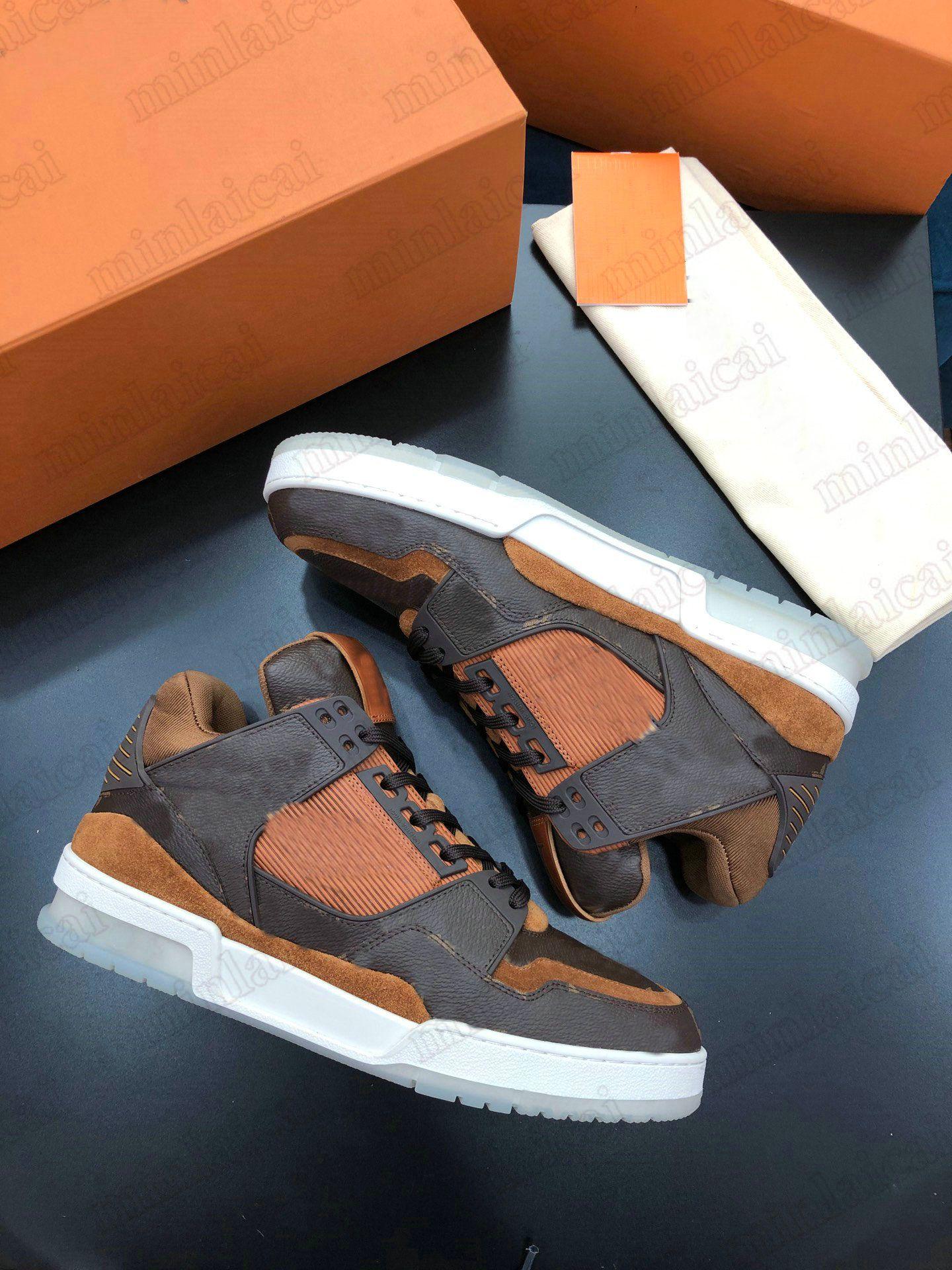 Trainer Turnschuhe Ebene Multicolor Herren Kalbsleder Schuhe 2021SS Luxurys Vintage Runner Trainer Designer Brown Monogramme Leinwand Womens Casual Shoe