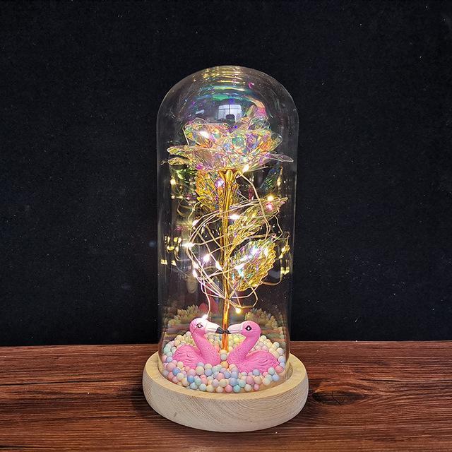 LED gece lambası folyo çiçek cam kapak takımı gelin nedime hediye düğün dekorasyon olay parti dekor beyaz kaide kuğu