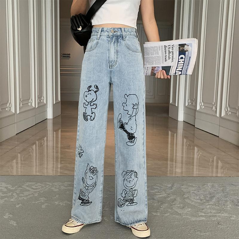 jeans snoopy stampa larga gamba da donna ad alta vita a vita alta tubo piano tirando in denim allentato e sottile autunno