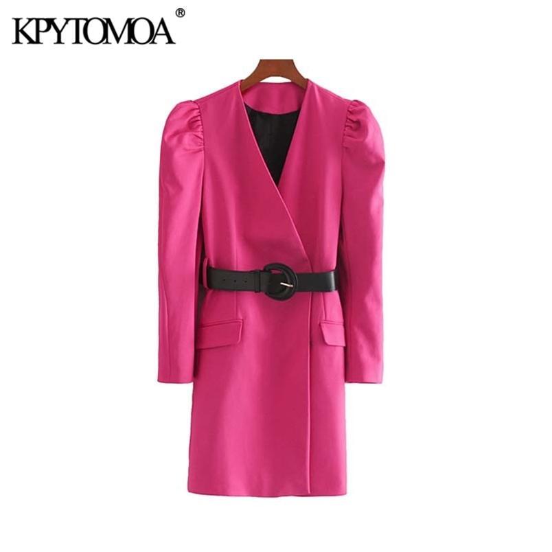 Şık Ofis Kemer Ile Mini Elbise Kadın Moda V Boyun Puf Kollu Kadın Elbiseler Vestidos Mujer 210420