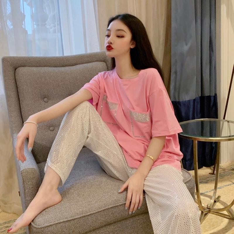 Привет девушка женщины лето 2шт набор бриллиантов бисером с коротким рукавом футболка + империя блестящая широкая длинная нога брюки для сексуального шикарного наряда белый