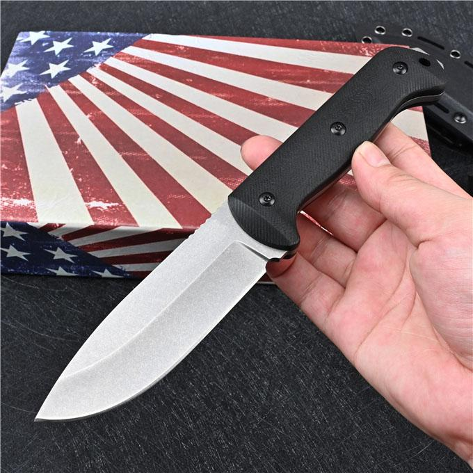 High Quality BK2 Outdoor Survival Straight Hunting Knife D2 Drop Point Blades Full Tang G-10 Handle Fixed Blade Knives With Kydex