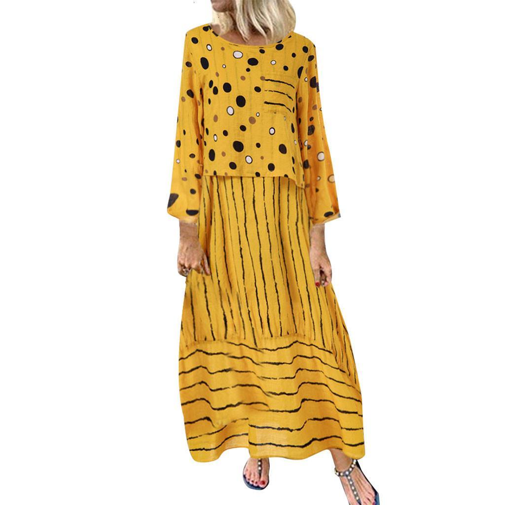 Vestito Vintage Plus Size Moda per le donne Estate O-Collo Casual Elegante Mouwlless Una linea allentata femminile