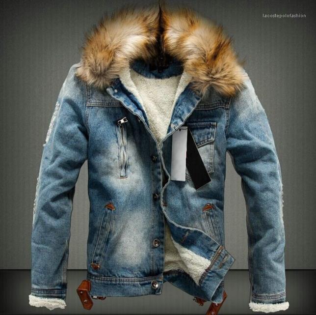 Männer dicke Pelz-Designer-Mäntel lange särtliche einzelne breastedjacke Herren gewaschen Winterjohnjacken Herbst