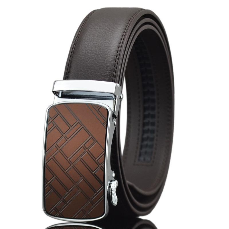 Cinturón de moda Cuero de hombre de cuero Hebilla automática Marrón LY1327-1