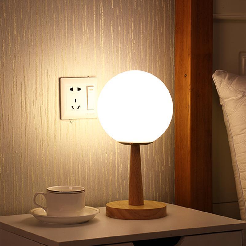 플러그인 화이트 유리 테이블 램프 침대 옆 밑 침실 원격 제어 램프