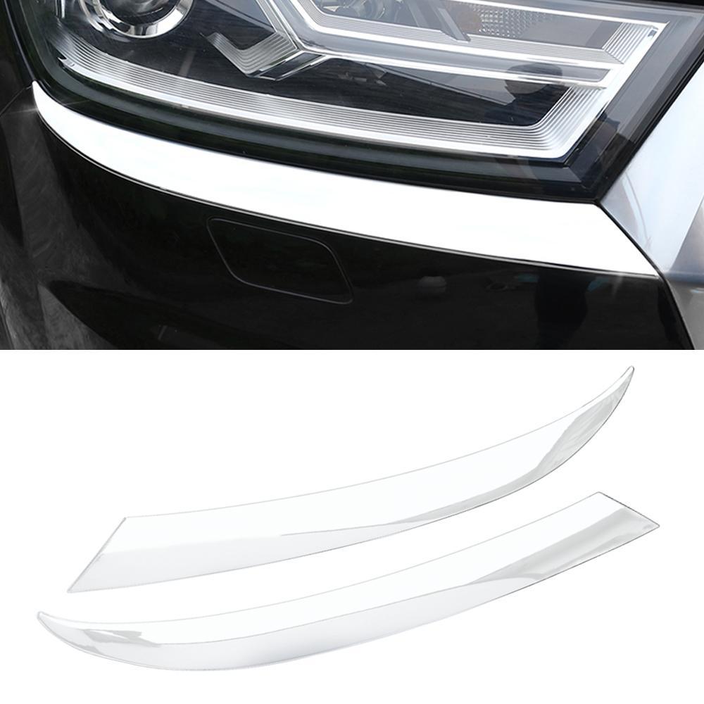Pour Audi Q7 4M 2016-2019 Accessoires de voiture Phare avant Cadre d'autocollant Cocher Couvercle Décoration Extérieur Décoration Silver Chrome Moulding