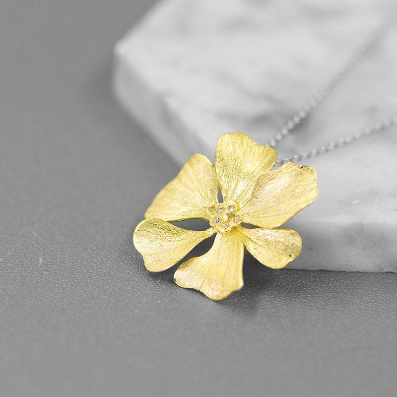 Colares Inature Elegance Peony Flower para Mulheres 925 Esterlina Silver Chain Cadeia Declaração Jóias