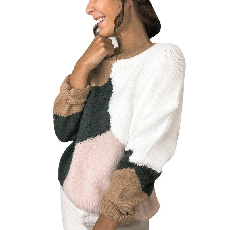 Frauenpullover Winter Herbst Pullover Splice Farbe Block Rundhalsärmeln Pullover Weibliche Bottoming Hemd Lässige Strickwaren Blusa Tops