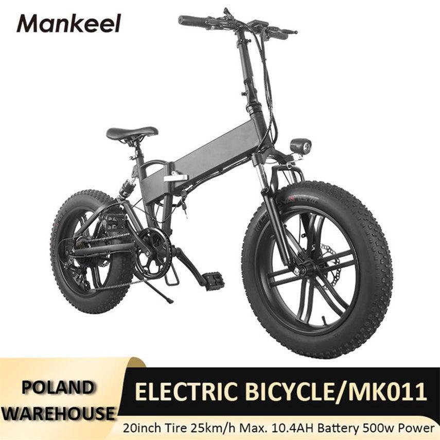 Mankeel MK011 Elektrische Fahrrad Faltbar Smart Scooter 20 Zündgerät 500W Leistung LED-Licht E-Bike 10.4AH Batterie 40km Kilometerstand Sport Mountainbikes