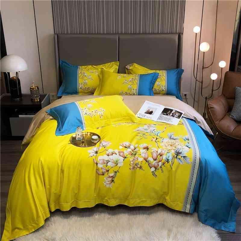 Весенние цветы Цветы Яркие Желтые постельные принадлежности Полная / Королева Подортная Крышка Крышка Кровать Односнабжение Кровати Односнабжение Крышки 1000TC Египетский Хлопок Ультра