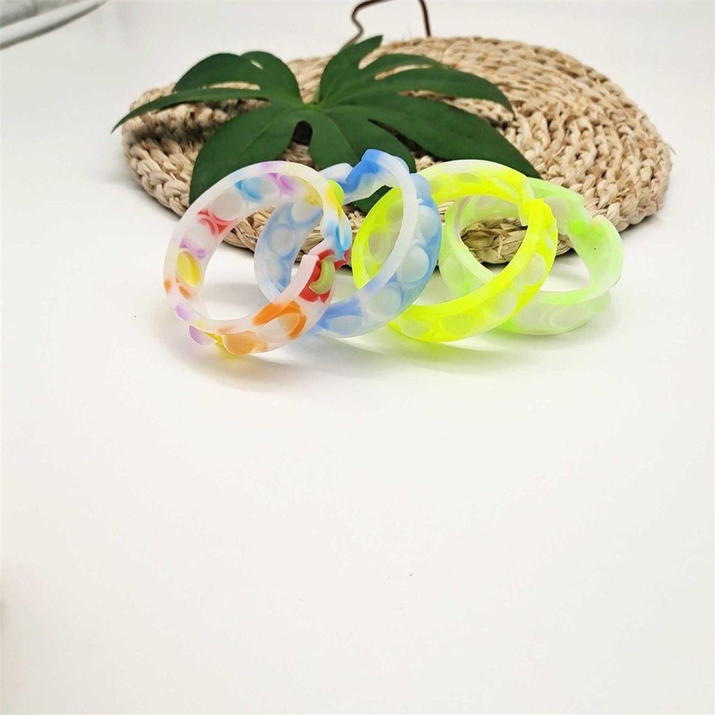 DIY CAMBIO CAMBIO CAMBIO COLOR PUSH BURBUJO Pulseras de silicona Descompresión Fidget Toys Pop dedo juguetes Pulsera Puzzle Press Muñequera de pulsera Juego G9194YU