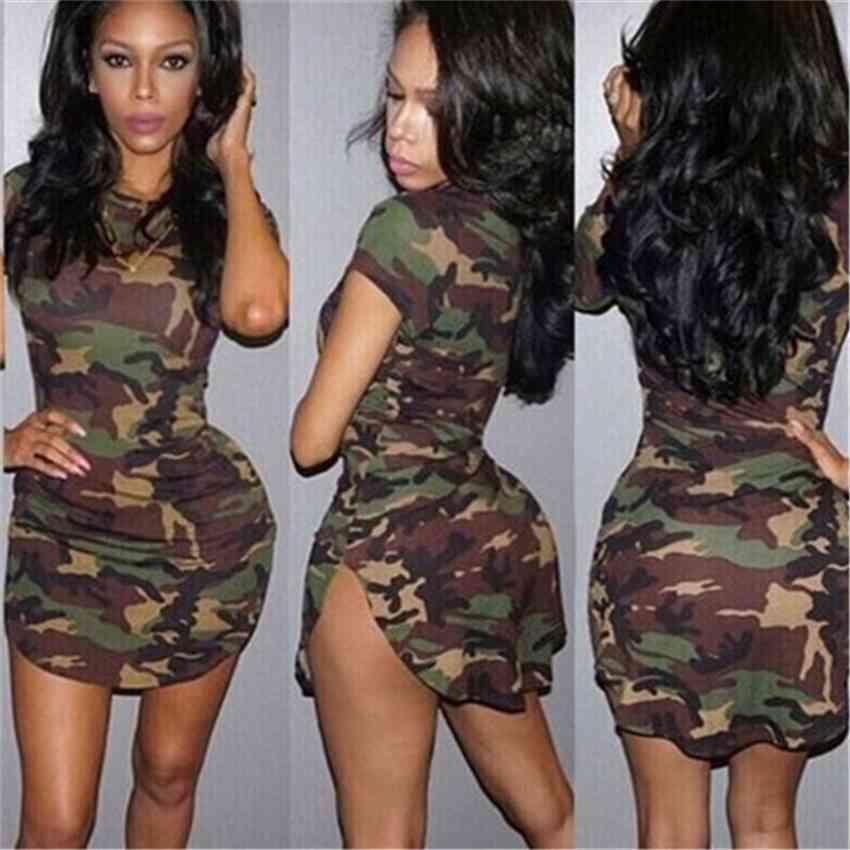 Fábrica70r3hem ajuste equipe camuflagem apertado pescoço irregular nightclub vestido