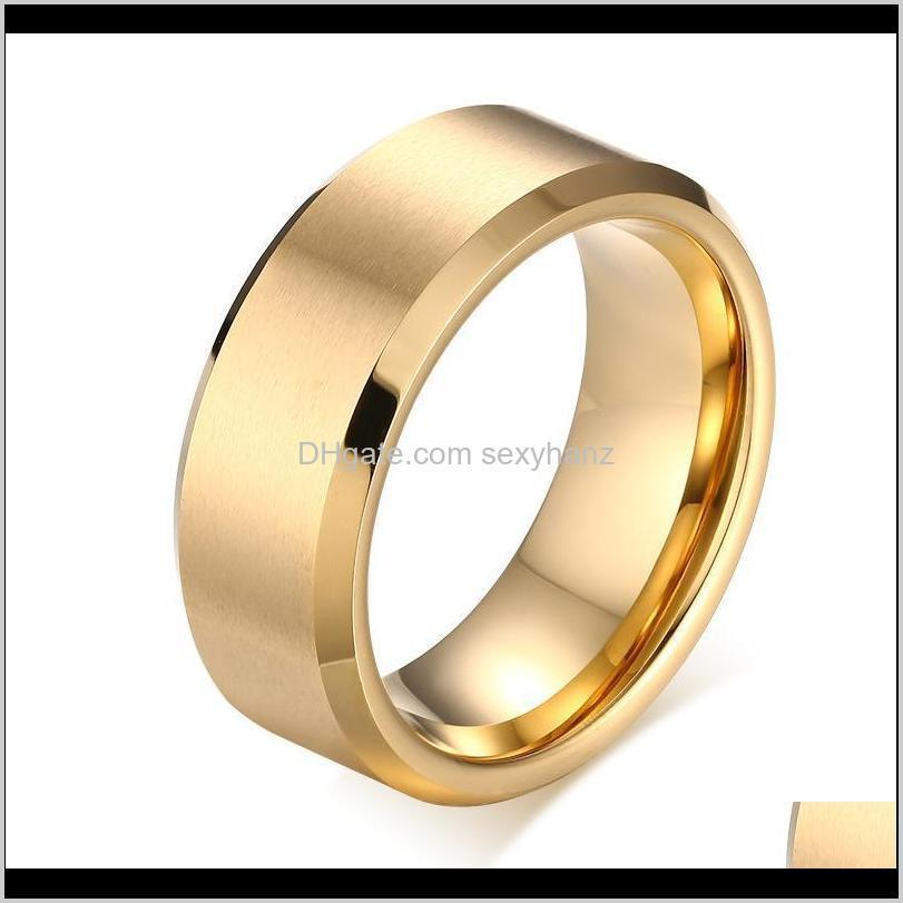 Drop Delivery 2021 Mens Rings 8Mm Wedding Band Black Pure Tungsten Carbide Engagement Ring For Men Matte Jewelry Bague Homme 9Khtx