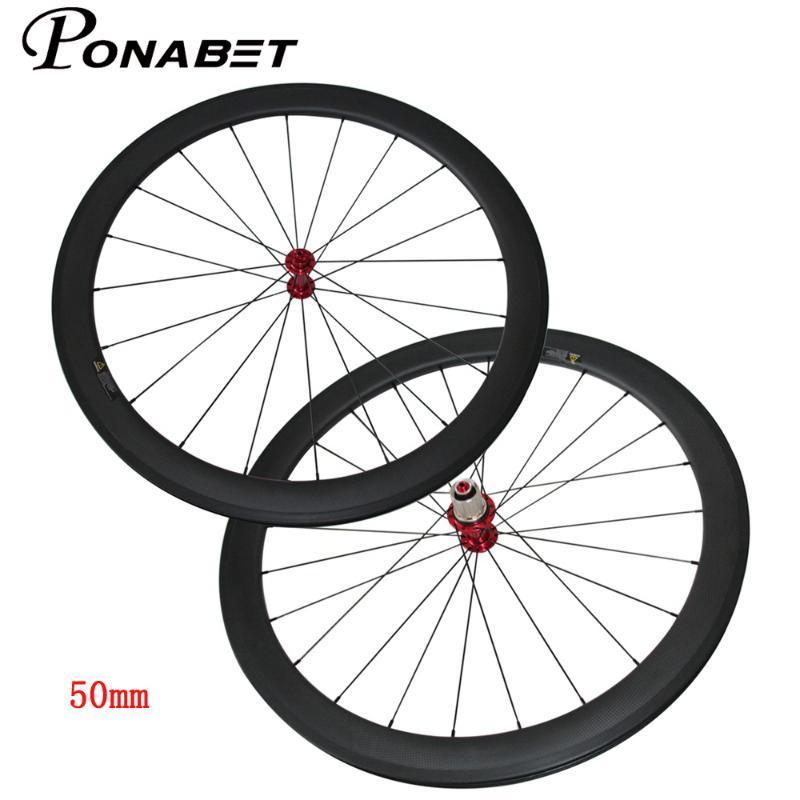 دراجة عجلات الصينية الكربون الطريق 50 ملليمتر الفاصلة عجلة أنبوبي للعجلات powerway r13 سيراميك hub aero تكلم T700