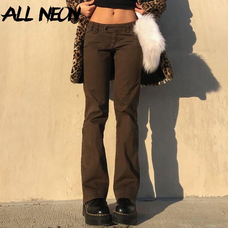 Jeans Allneon 90s Streetwear Низкая талия коричневые джинсовые брюки инди эстетика Slim Stereigh Long Y2k старинные брюки фигуристы одежды