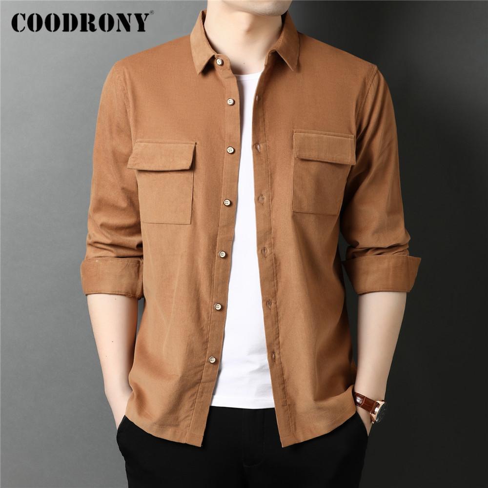 Coodrony Bahar Sonbahar Yüksek Kalite Streetwear Moda Rahat Tarzı Büyük Cep 100% Pamuk Uzun Kollu Gömlek Erkek Giyim C6113 210522