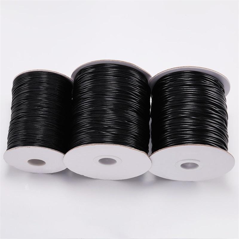 10m / lot Dia 0,5mm-2mm schwarz gewachste Baumwollkordel Wachste Gewindeschnur String Strap Halskette Seil für Schmuckherstellung Großhandel 1531 v2