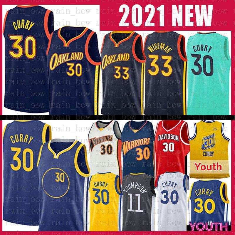 Erkek Gençlik Stephen 30 Köri James 33 Wiseman Basketbol Jersey Golden Klay 11 Thompson StateSavaşçılarJersey 2021 Yeni