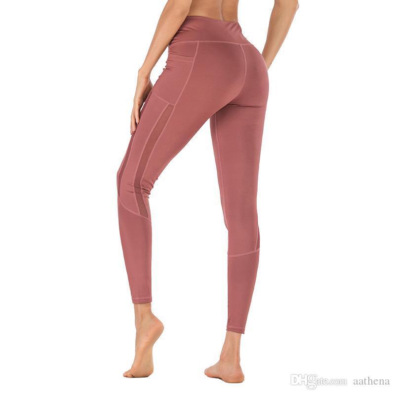 2019 Nouveaux fitness de fitness femme Leggings de sport maillage couture téléphone portable poche de poche pantalon de fitness serré
