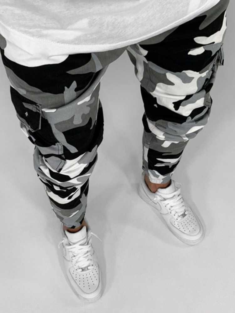 Camouflage Cargo Hommes Multi Poche Coton Militaire Camo Denim Armée Passerelle Travistes Streetwear Crayon-Jeans Pantalon Homme