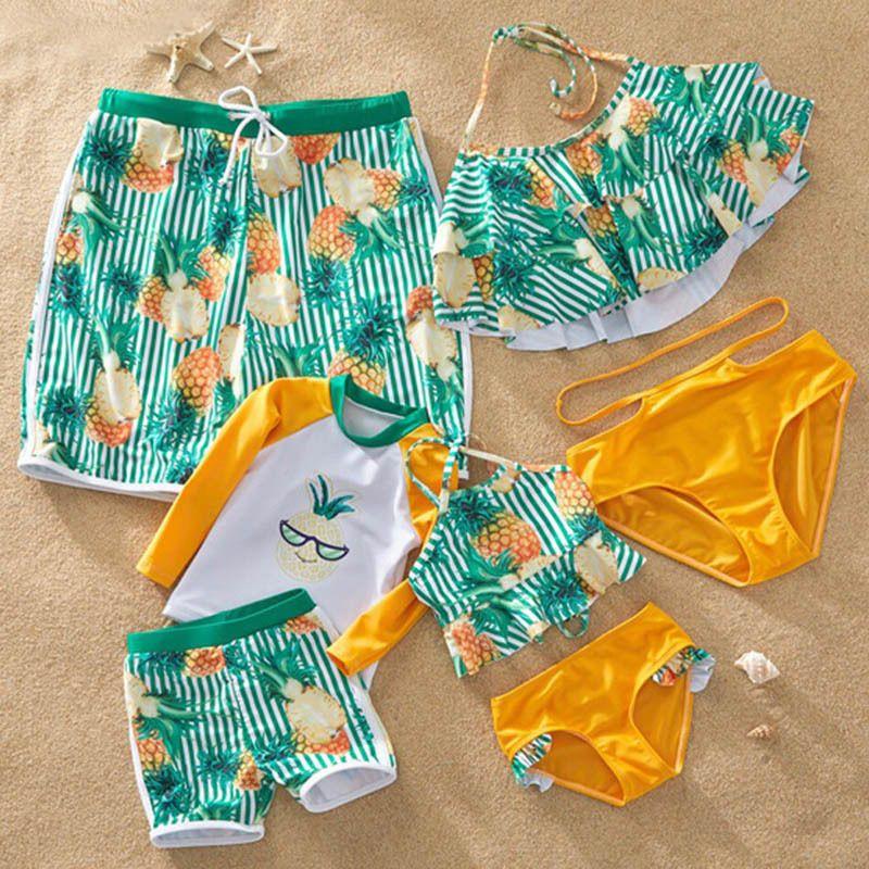 Matching Swimsuits Madre hija traje de baño papá hijo natación pantalones cortos mami y yo ropa juegos de aspecto familiar