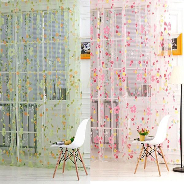 Curtain & Drapes 1*2m Flower Voile Sheer Panel Window Balcony Tulle Room Divider Scarf Curtains