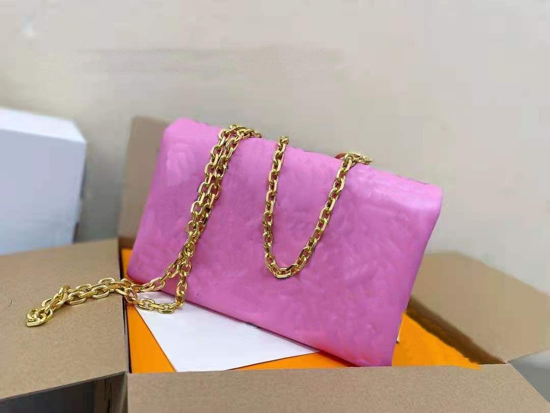 المرأة حقيبة الفتيات النساء جلد طبيعي المحافظ حقائب الكتف حقيبة يد حقيبة الكتف المرأة أكياس سلسلة يميل النقش لون الحلوى