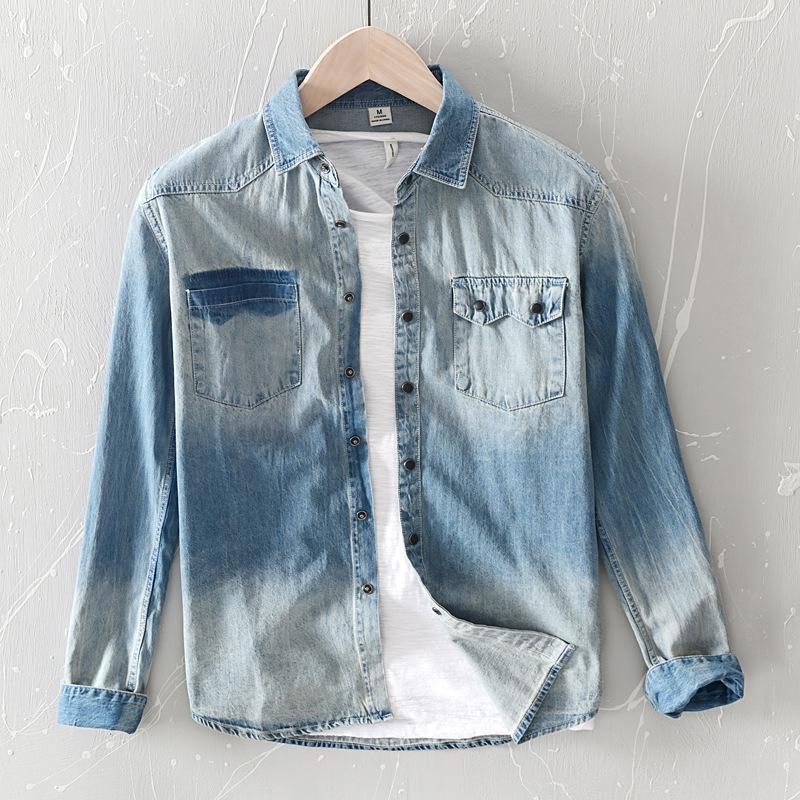 Fashion Hombres Lavado Retro Denim Manga larga Camisetas estilo coreano Slim Fit Guapo Casual Jean Tops Masculino Camisa de algodón azul claro
