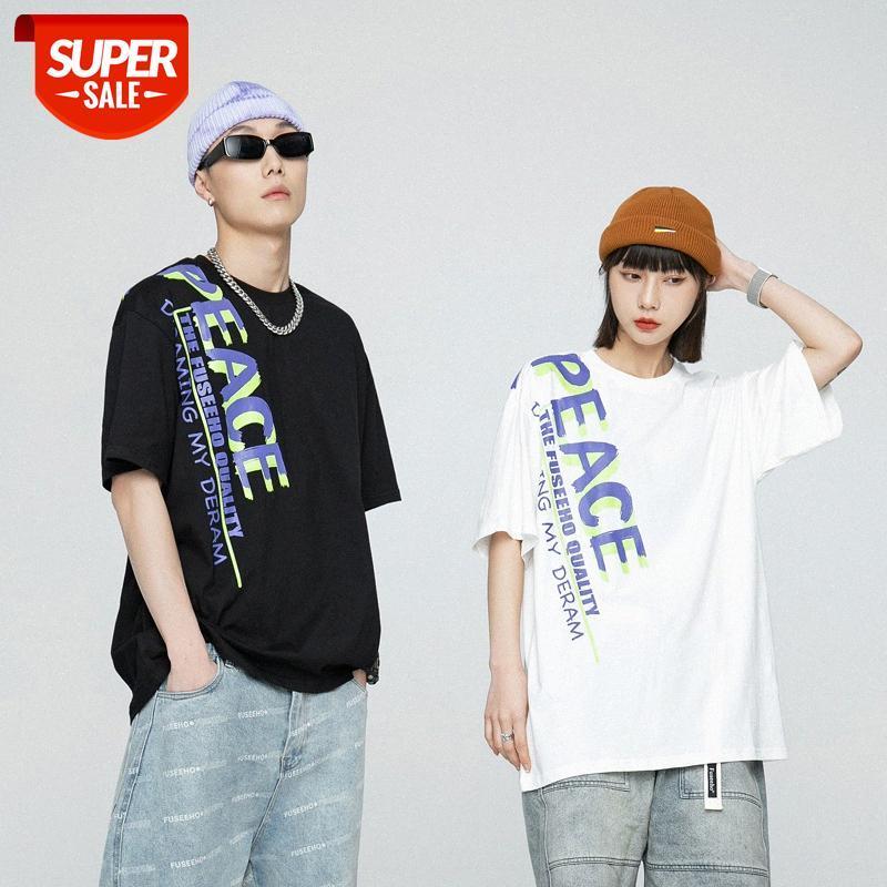Kurzärmelige T-Shirt Männer Amerikaner Casual Street Mode Persönlichkeit Brief Drucken Lose Rundhals-Paar Wear College Stil T-Stück # 5J9U