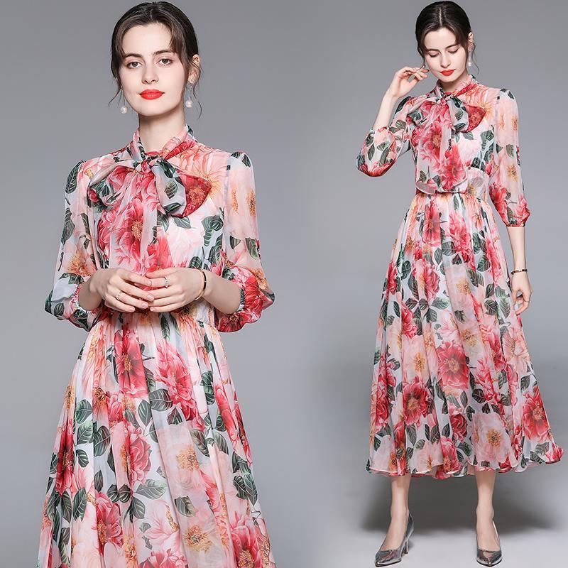 Vestidos casuais verão chiffon camellia curva vestido plissado pista 2021 desenhador lanterna manga impressa feriado férias escritório luxo mulheres vestir