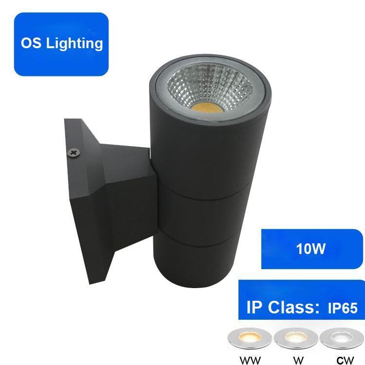 위쪽으로 현대 야외 벽 램프 Bridgelux 10W COB LED 빛 IP65 외부 조명 AC85-265V Porce 램프