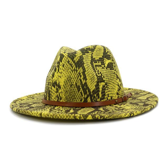 Yün Keçe Caz Fedora Şapka Gri Serpantin Desen Kadın Erkek Geniş Brim Panama Parti Erkek Kadın Marka Trilby Cap Chapeau