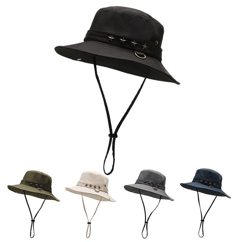 Correa de barbilla Pescador Cubo Casca Nylon Ancho Sombrero Anti UV Impermeable Moda Portátil Sombrero Al Aire Libre con sombreros de playa ajustables