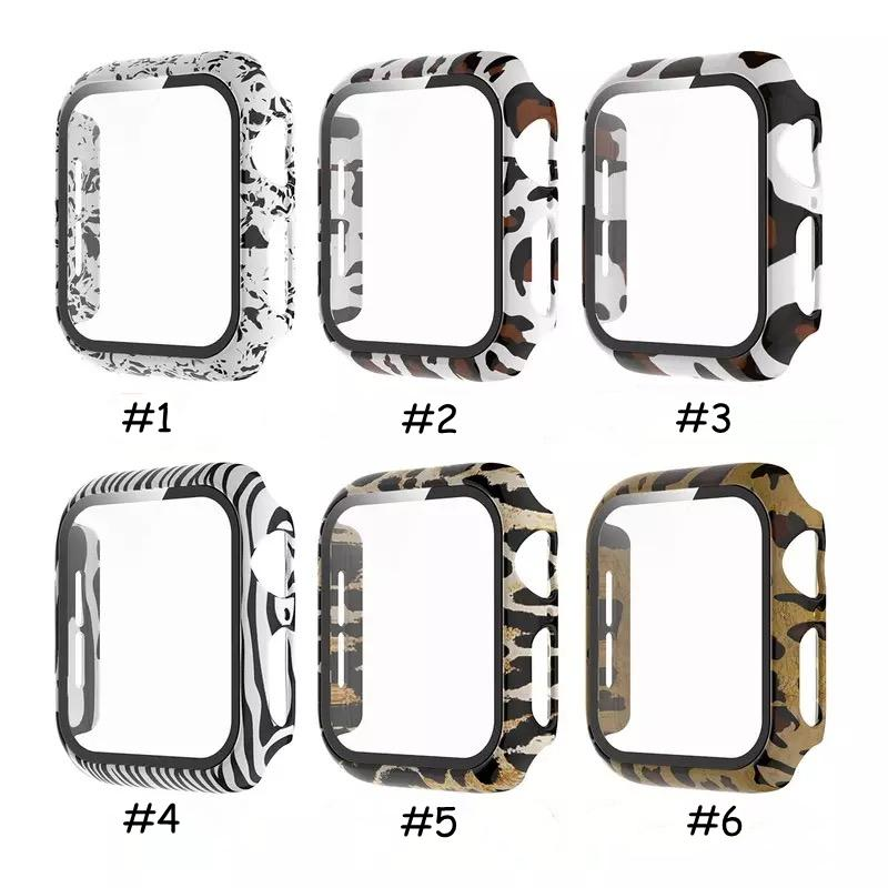For Apple Watch Series 6 5 4 3 2 SE Cases iwatch 38mm/42mm/40mm/44mm Leopard Zebra Slim Hard PC Tempered Glass Full Screen Protector Protect Case Cover Accessories