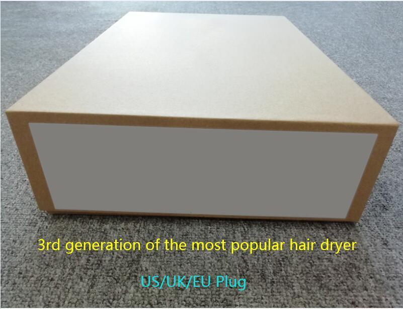 2021 Génération 3 Pas de ventilateur Sèche-cheveux Sèche-cheveux Professionnel Salon Outils Souffler la chaleur Super vitesse US / UK / UE Plug