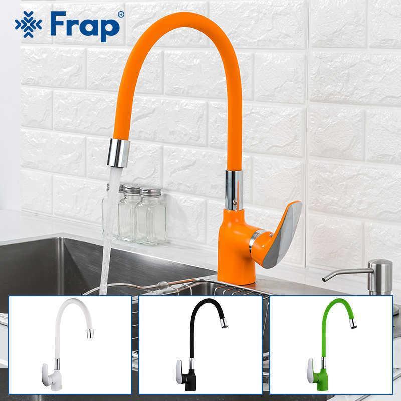 Faucet de cozinha Frap 4 Cor Silica Gel Nariz Pia De Cozinha Faucet Torneira Torneira Torneira De Água Misturador Moderno Deck Montado Tapware 210724