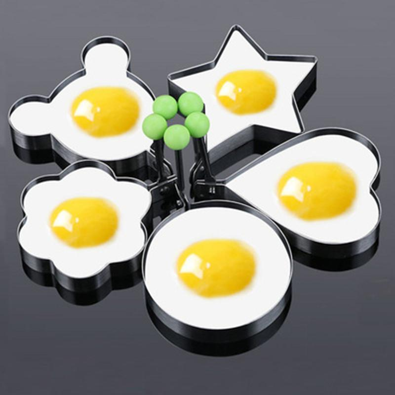 Acessórios de ferramentas 5 peças / conjunto de aço inoxidável em forma de egg frito molde de panqueca
