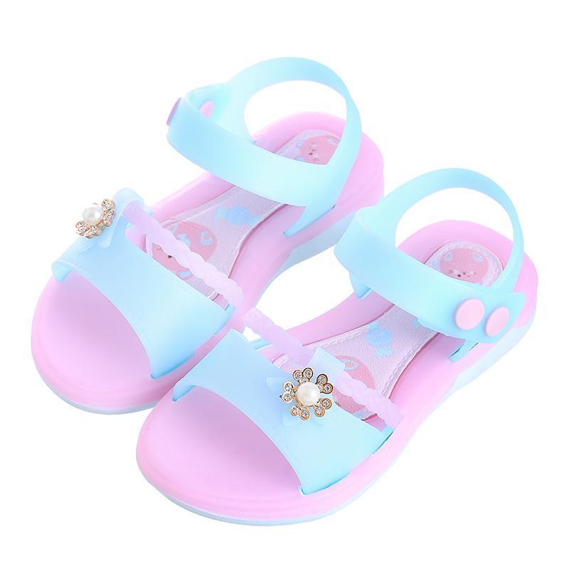 Niñas jalea sandalias de verano niños moda zapatos planos niños princesa beath impermeable estudiante suave inferior
