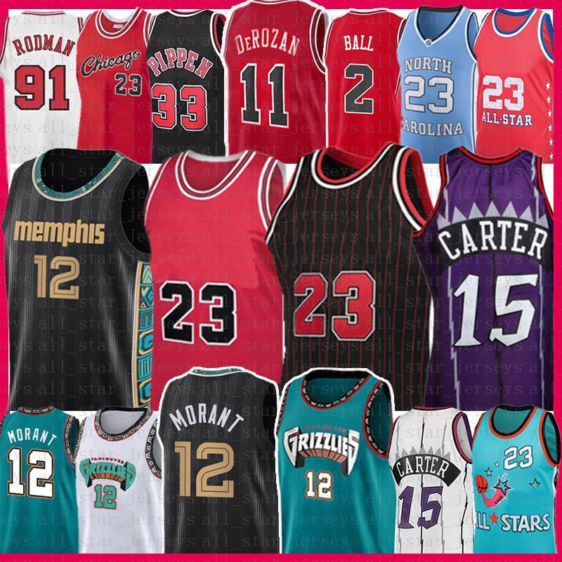 JA 12 Morant 23 Vince 15 Carter Basketball Jersey Scottie 33 Pippen Dennis 91 Rodman Demar 11 Derozan Lonzo 2 볼 레트로 메쉬 저지 2021 남자 청소년 어린이 성인