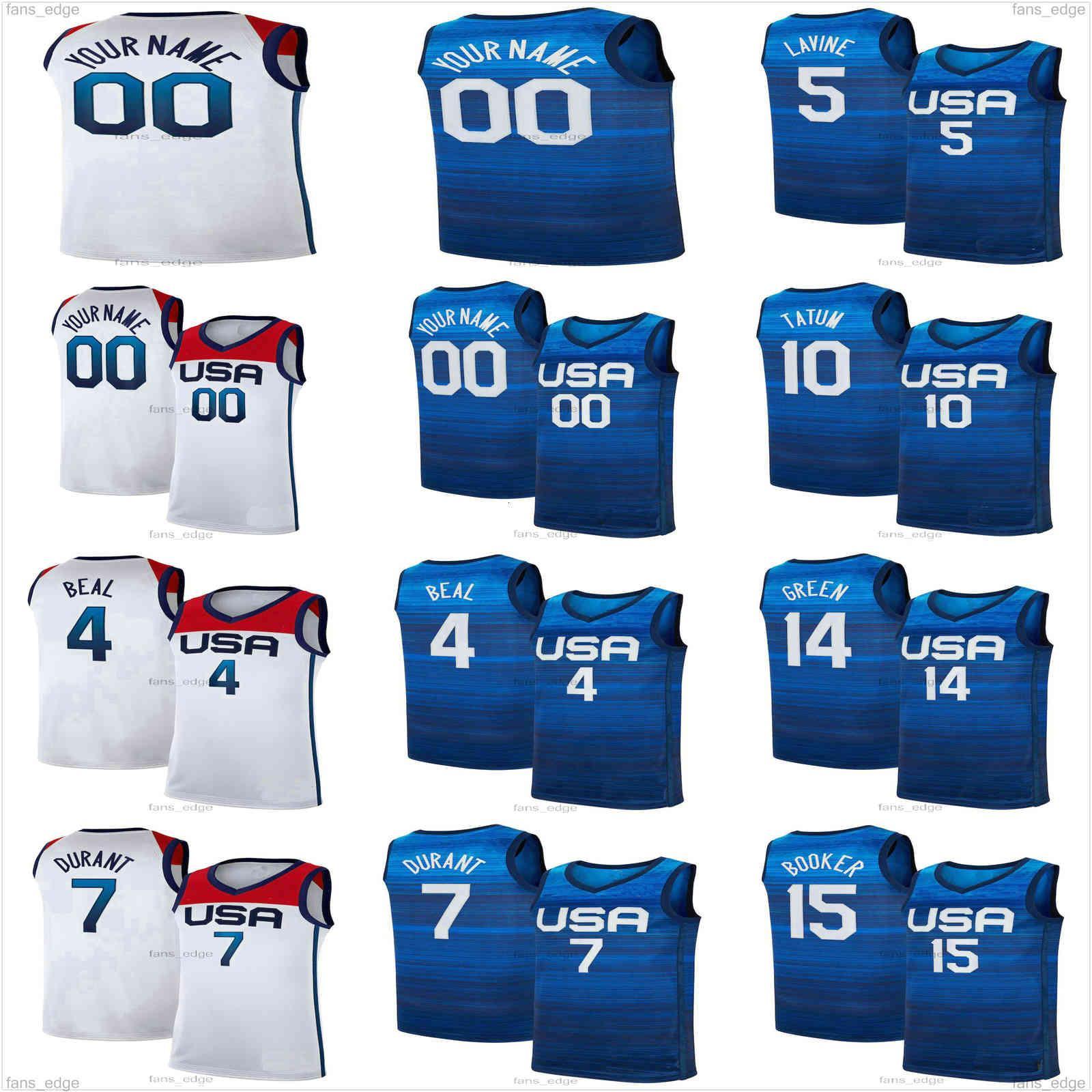 2021 Tokyo Summer Olympics Basketball Jerseys Kevin 7 Durant Devin 15 Booker Damian 6 Lillard Jayson 10 Tatum Zach 5 LaVine Bradley 4 Beal