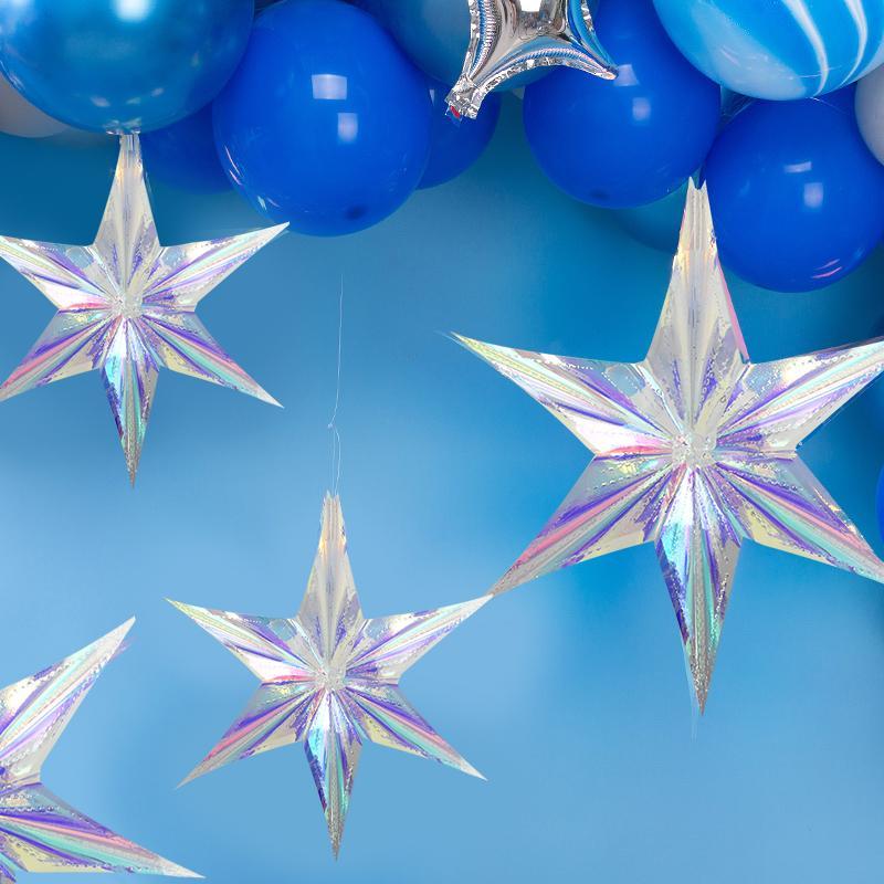 Palloncino 15/30/40/05 / 60 cm Shiny Laser Color Party Fai da te Appeso Ornamento Star Pendente Ciondolo Compleanno Forniture da sposa Festival Decorazioni natalizie
