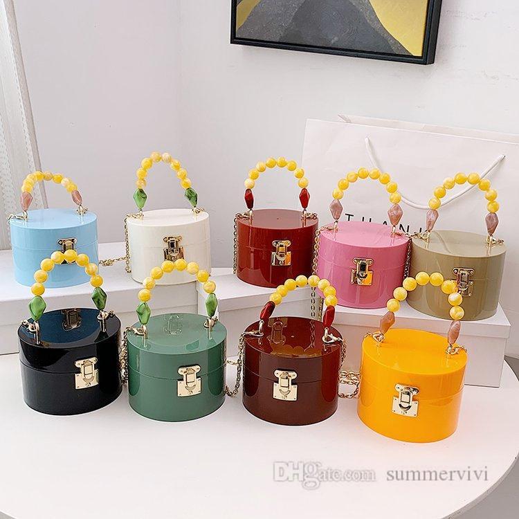 Mädchen Süßigkeiten Farbe Acryl Handtaschen Kinder Metall Kette Schnalle Messenger Eimer Tasche Frauen Mini Rundschreiben Single-Schulter Geldbörse Q0084